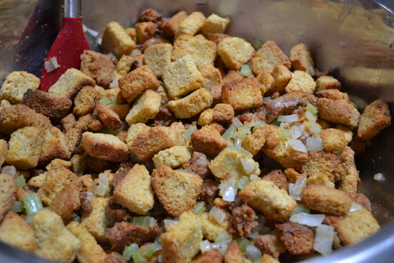 Hardly Housewives: Chorizo & Andouille Cornbread Stuffing