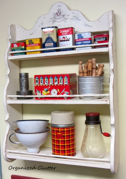 Vintage Painted Spice Rack & Collectibles www.organizedclutterqueen.blogspot.com