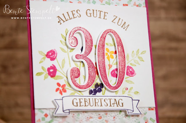 Stampin' Up! Framelits Die Cuts Große Zahlen Designerpapier DSP Geburtstagsstrauß Birthday Bouquet Large Numbers Number on years So viele Jahre Wink of Stella Glitzerstift Pinsel Glitzer