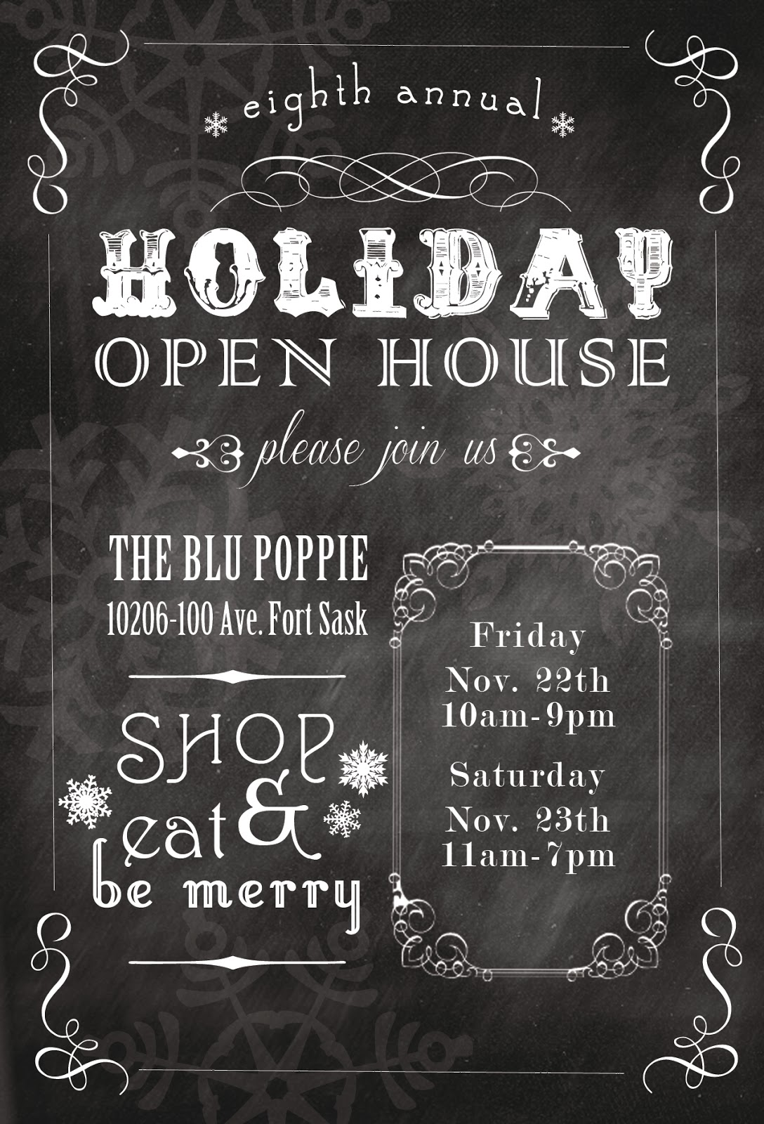 sixteen sunbuckles: {invitation} The Blu Poppie // Annual Holiday Open House // eat drink and be ...