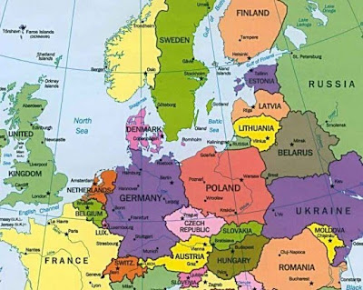 Map of Europe Countries Area