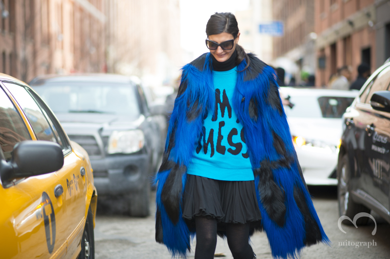 Giovanna Battaglia wears Jeremy Scott's I'm a mess Sweater at New York Fashion Week NYFW