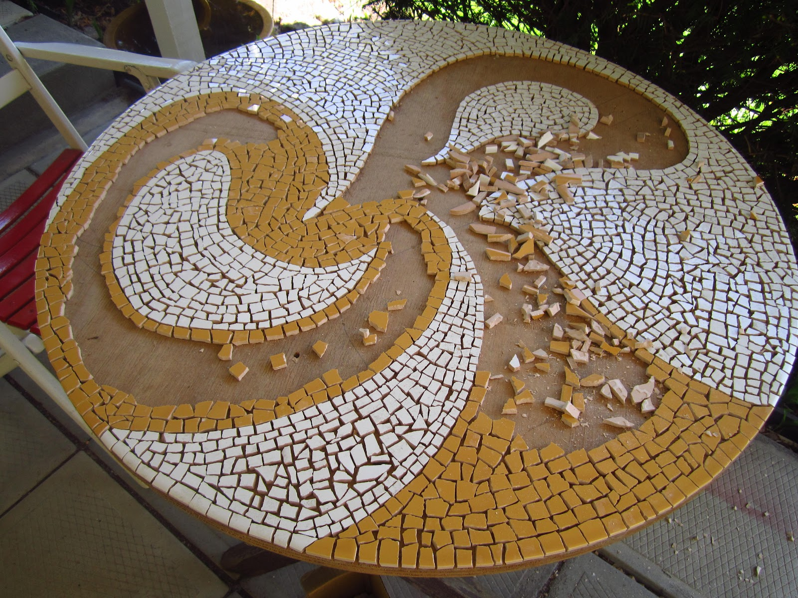 incredible How To Make A Mosaic Table Part - 6: Mosaic table top in progress
