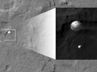 Mars Reconnaissance Orbiter Captures Image of Curiosity Rover Descending To Surface on its Parachute