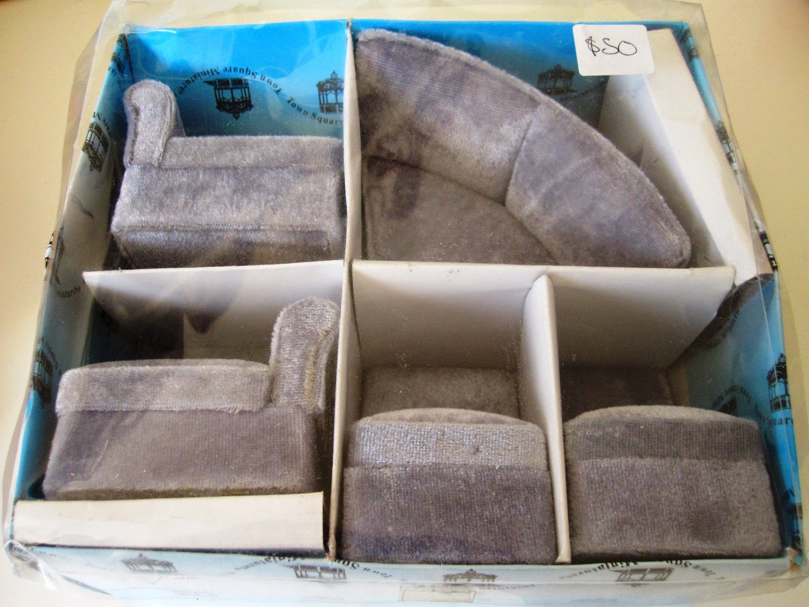 Modern miniature five piece grey velvet modular sofa set by Town Square Miniatures, in package.