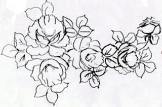 pintura em tecido flores risco pano de prato rosas