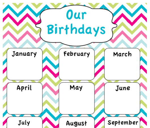 Here is a link to my chevron Class Birthday Poster.