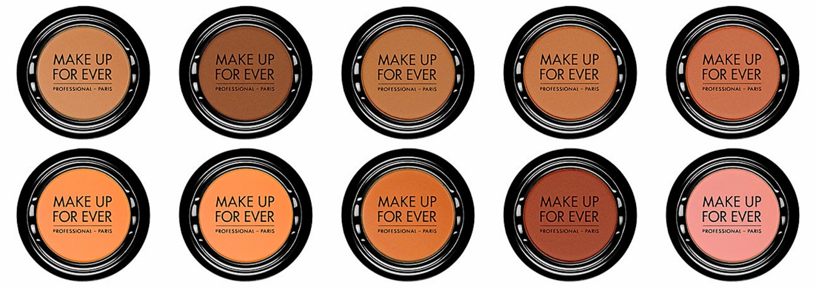 Make Up For Ever Artist Shadow Top from left: M704 Canyon; M720 Apricot; M726 Sienna; M738 Auburn; M806 Antique Pink  Bottom from left: M664 Fawn; M660 Speculous; M656 Chestnut; M650 Cookie; M646 Latte