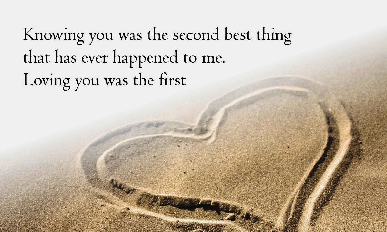 Knowing you was the second best thing that has ever happened to me. Loving you was the first.