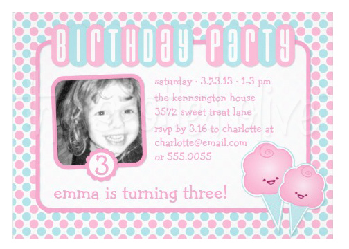 Kawaii Cotton Cany Kid Birthday Party Invitations by The Spotted Olive