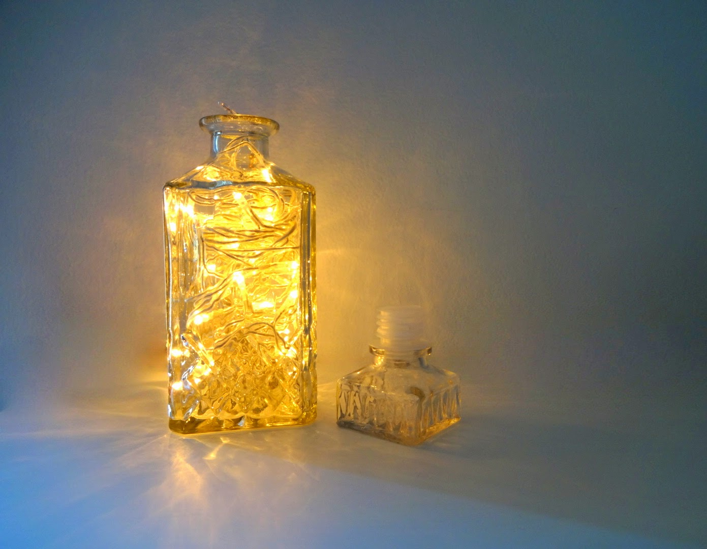home decor, shabby chic, bottle, glass bottle, whiskey bottle, christmas light, jar