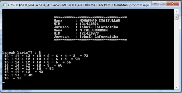Aplikasi Menghitung Jumlah dari Deret Bilangan Membentuk Segitiga C++