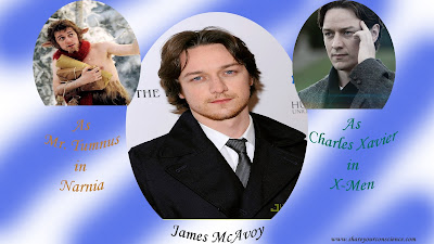 James McAvoy as Charles Xavier and Fawn Mr Tumnus