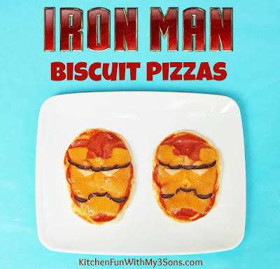 Easy IRON MAN Biscuit Pizzas & The Avengers Party from KitchenFunWithMy3Sons.com