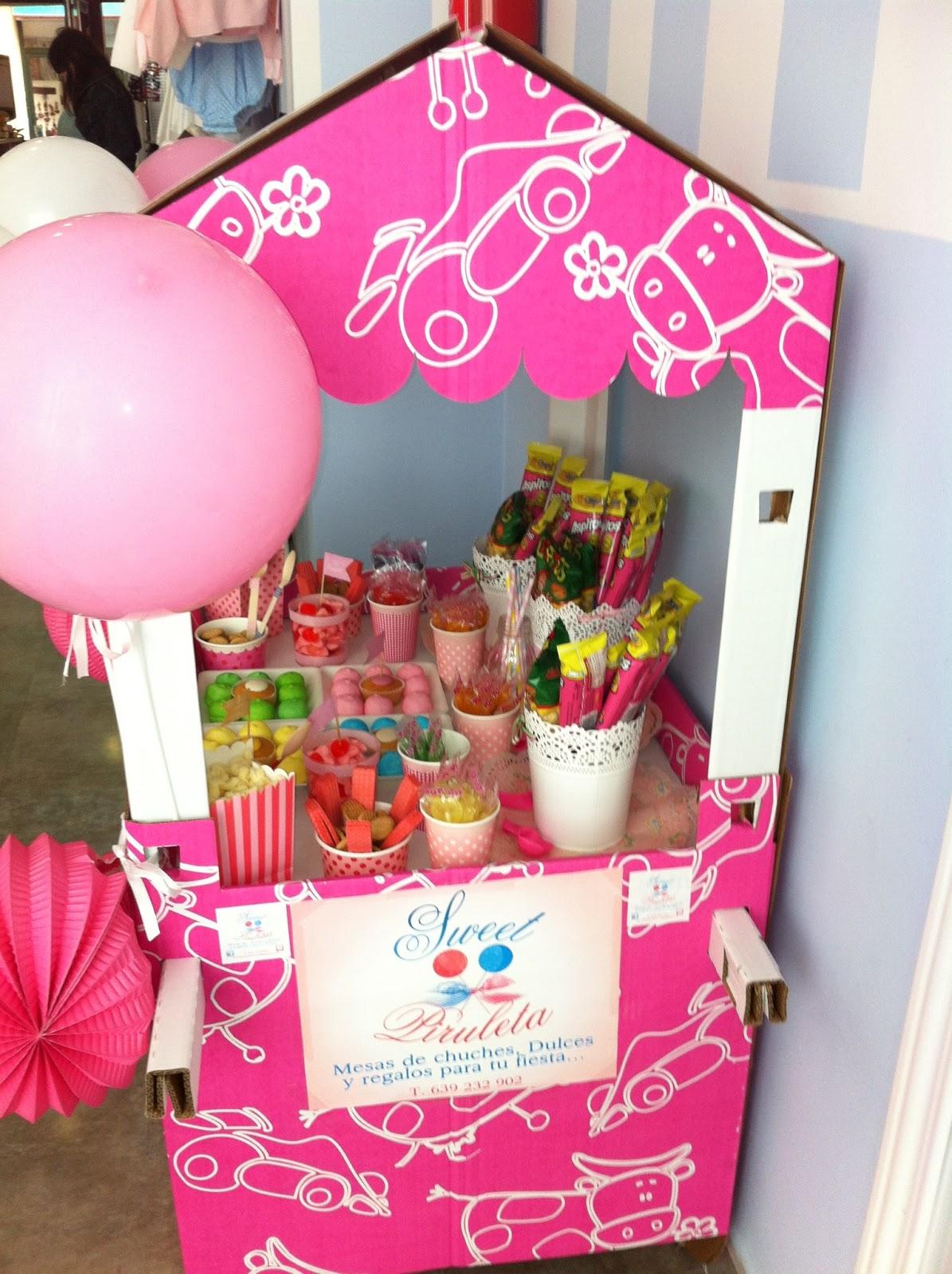 Nuestro carrito en la tienda azul o rosa sweet piruletas - Carro de chuches para cumpleanos ...