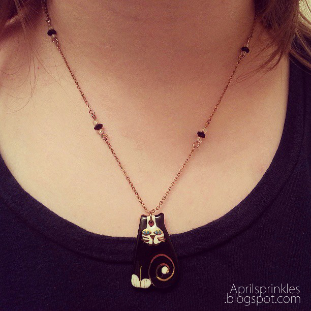 Black and white cat necklace by April Sprinkles