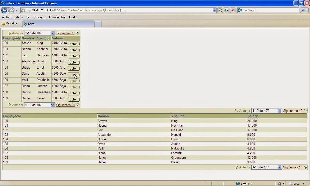 vista resultados commandButton