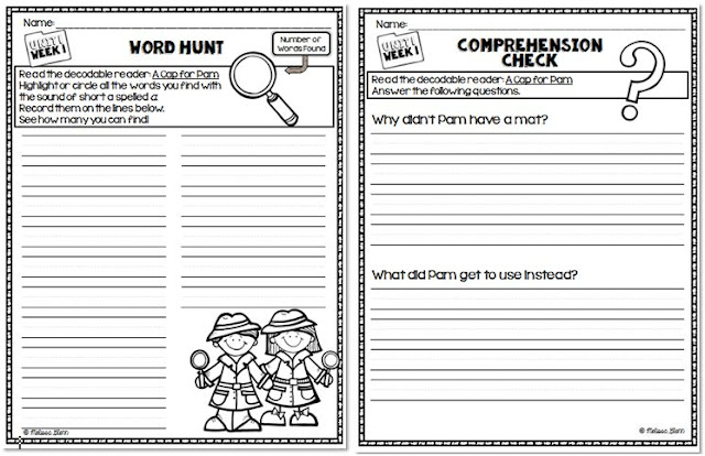 Word Hunts and Comprehension Questions for Treasures