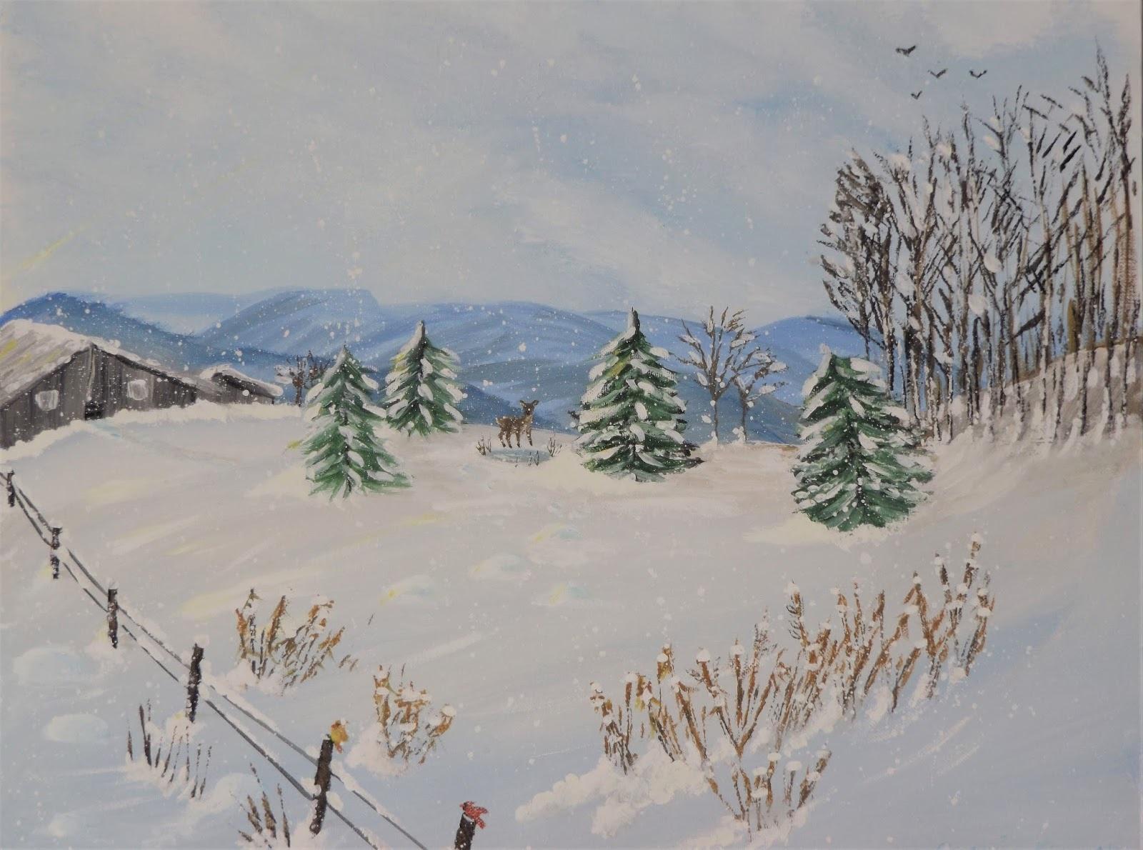 Snowy bank in winter