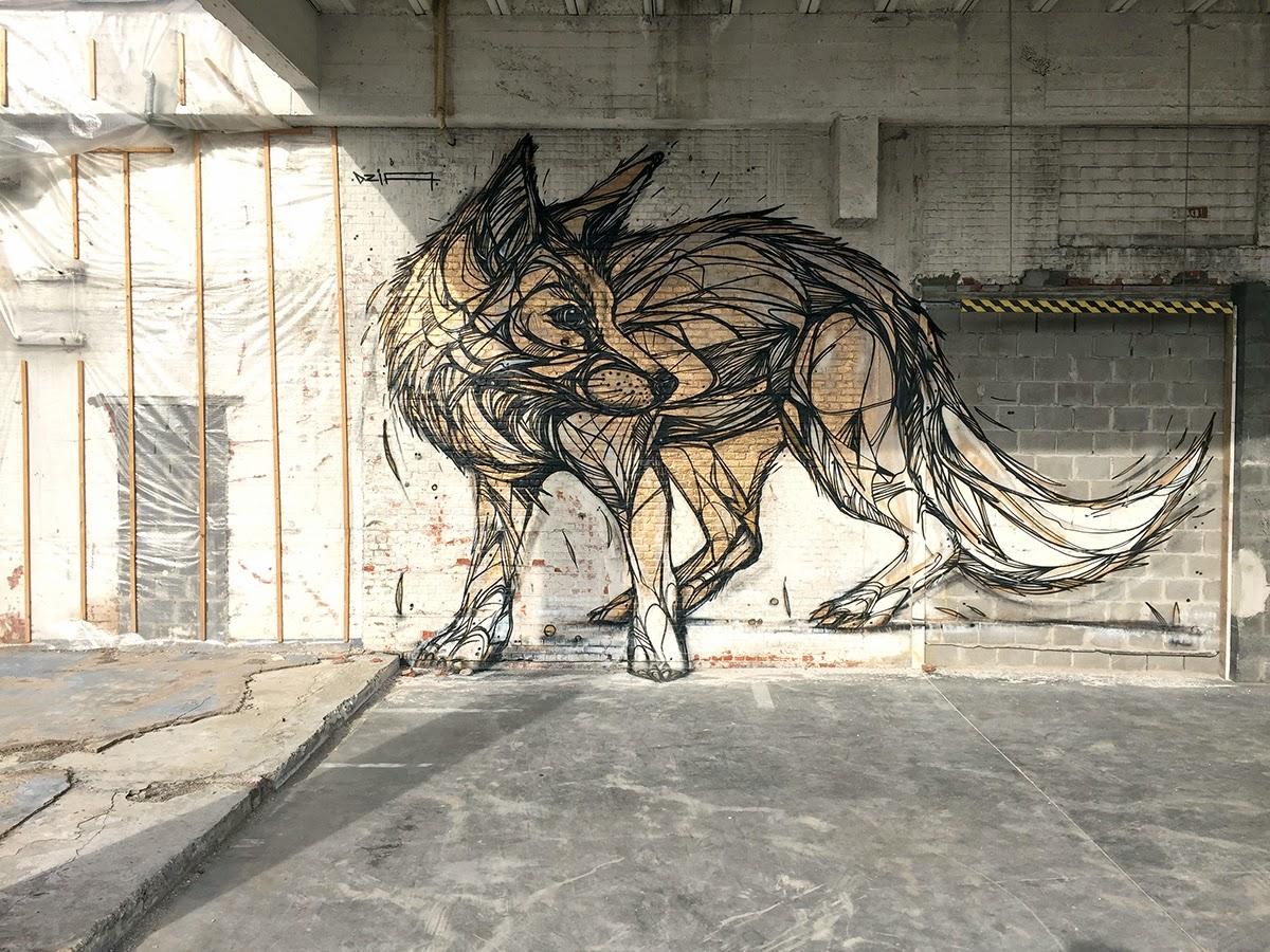 dzia paints a massive mural in vilvoorde  belgium
