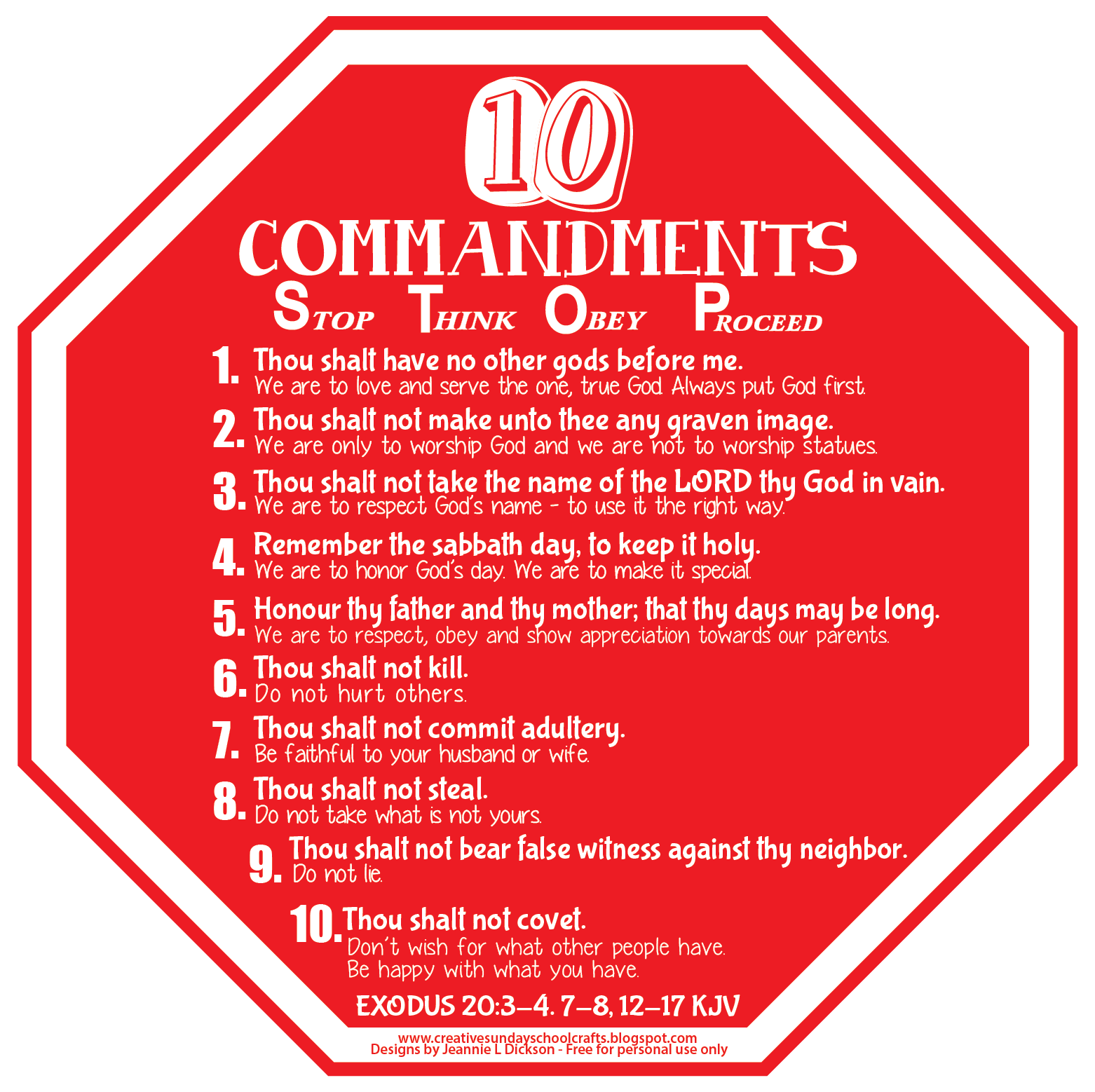 Creative Sunday School Crafts: Ten Commandments Visual - STOP Sign