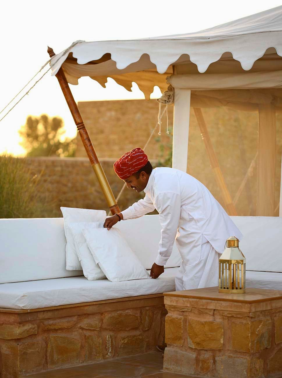 Camp Staff Wears Crisp White Linen Tunics And Trousers With A Signature Red Turban All Characteristic Of Rajasthan