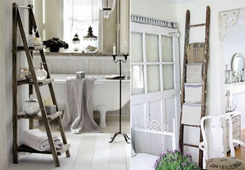 escaleras de mano usadas para decorar