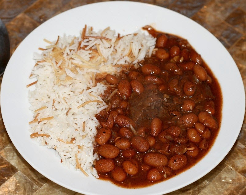 Lebanese Beef Chili Stew - Fasolia Beans with Rice