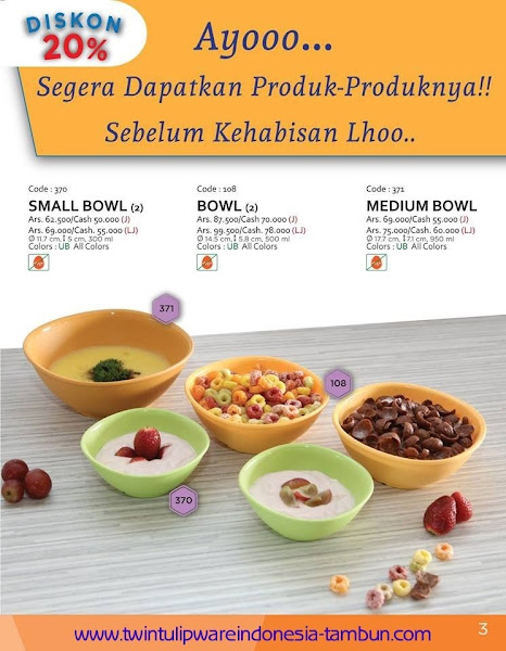 Promo Diskon Tulipware | September - Oktober 2015, Small Bowl, Bowl, Medium Bowl