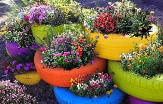 macetas de llantas recicladas patios y jardines