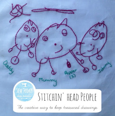 Stitching Head People: The creative way to keep treasured drawings