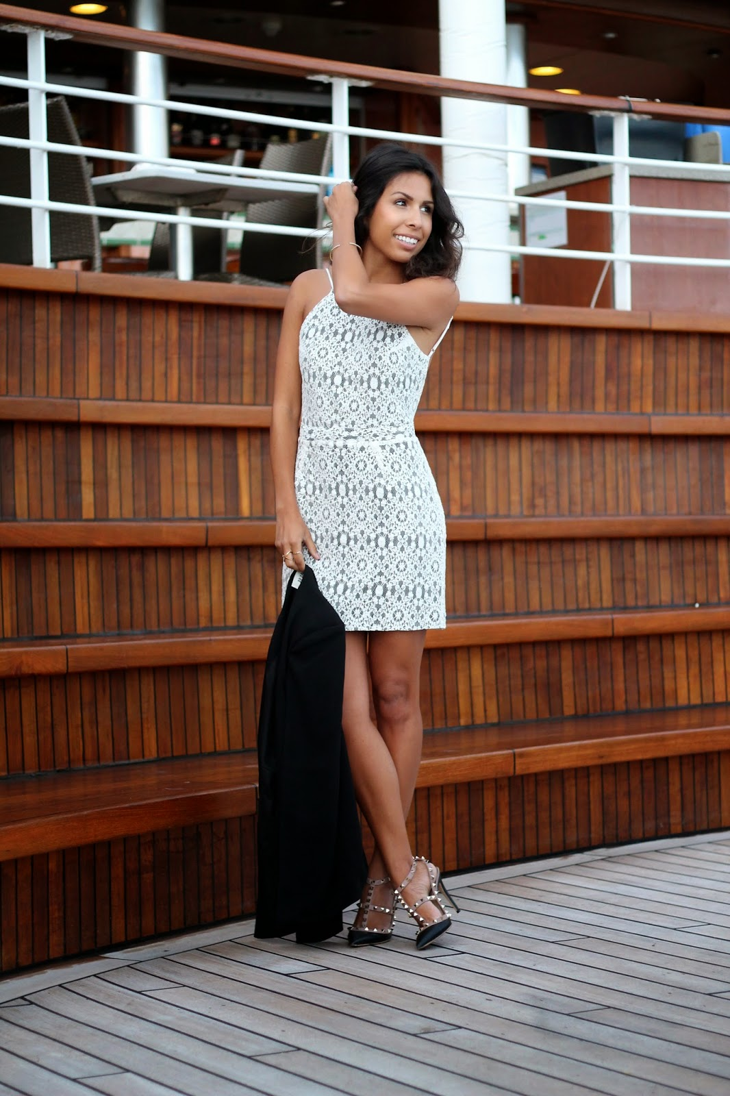 white lace dress, wedding, cape, valentino rockstuds