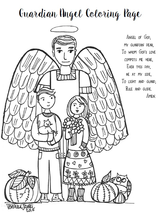 Paper Dali Feast Day Of The Guardian Angels Free Coloring Page