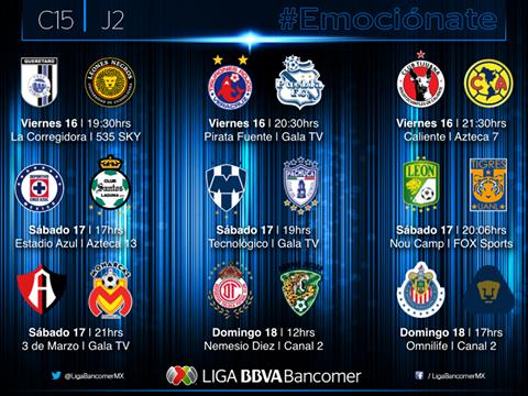 Horarios partidos Jornada 2 Liga MX