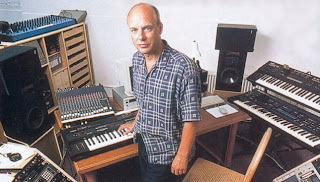 Brian Eno in his studio image