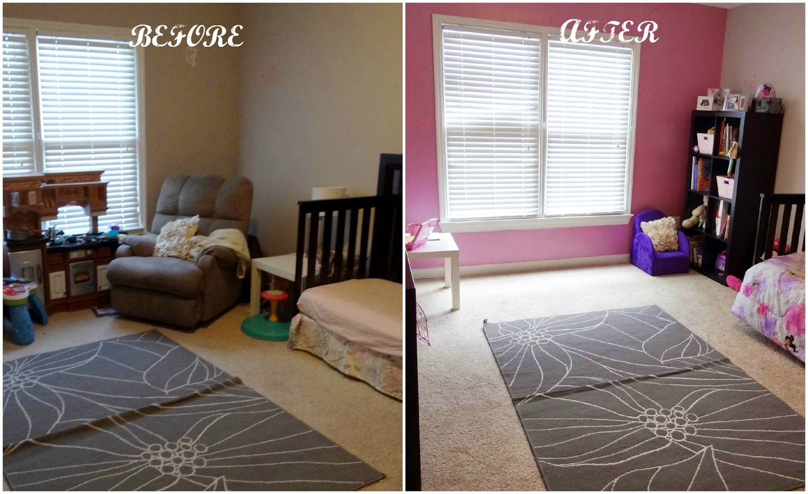 p 39 s bedroom makeover party disneypaintmom before after baby shopaholic. Black Bedroom Furniture Sets. Home Design Ideas