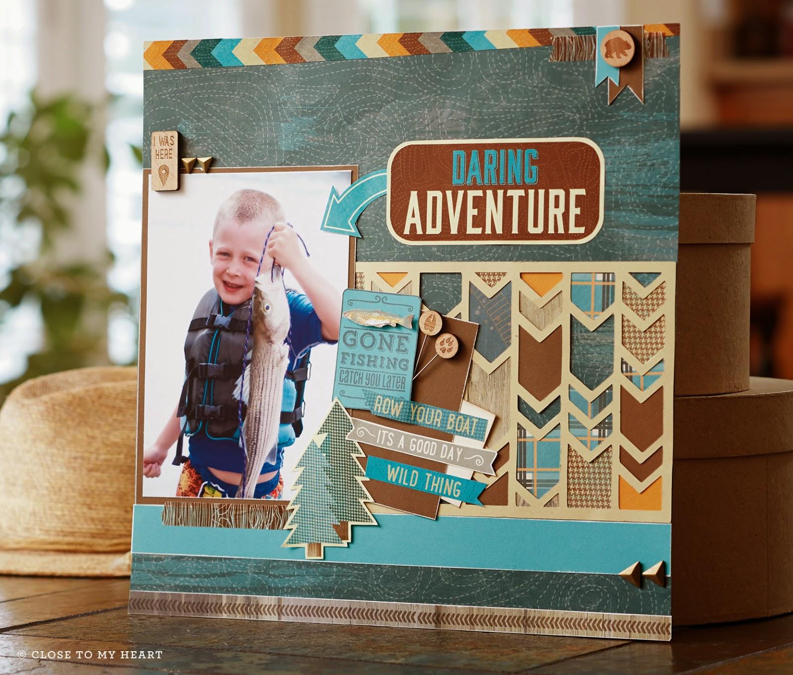 CTMH Fishing Scrapbook Layout