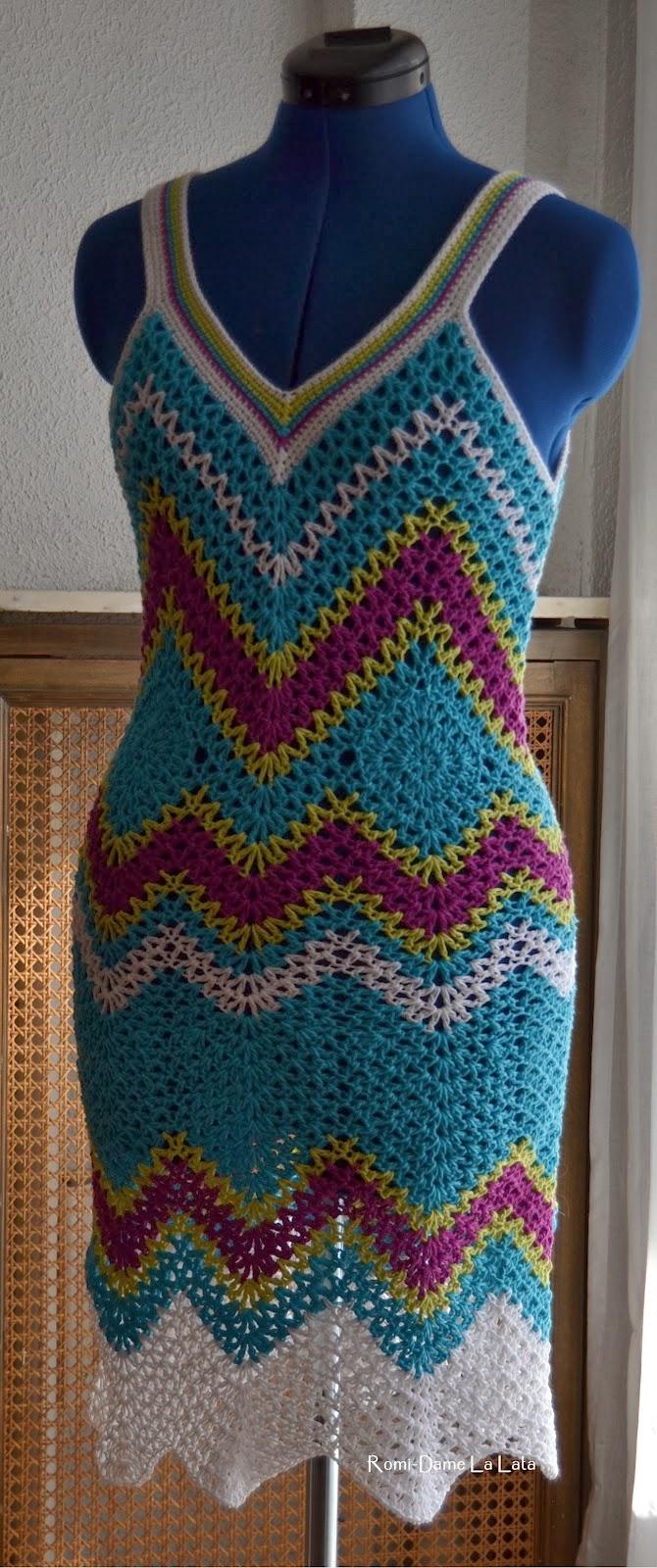 Crocheting Zig Zags : TRICO y CROCHET-madona-m?a: Vestido a crochet zig zag con patron