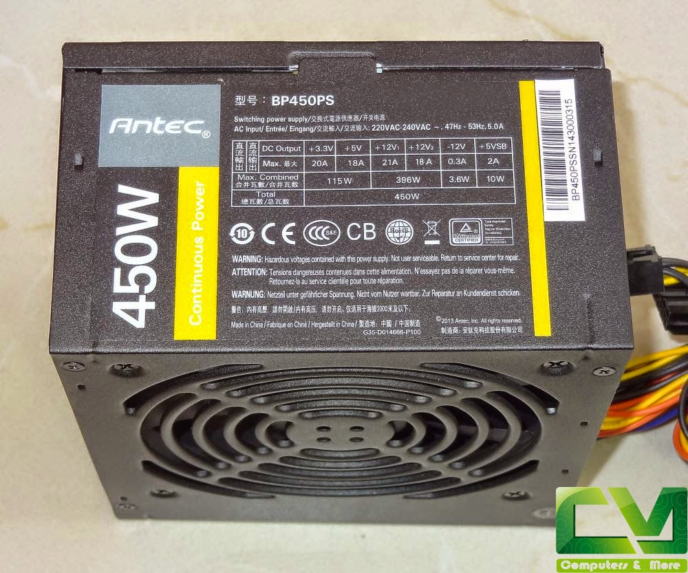 Antec Bp450ps 450w Psu Review And Benchmarks Computers More Atx12v Power Supply Tester Latest Standards If You Look At The Label Closely See That Output On 12v Rails Ie 396w Is Greater Than Of 33v 5v Combined