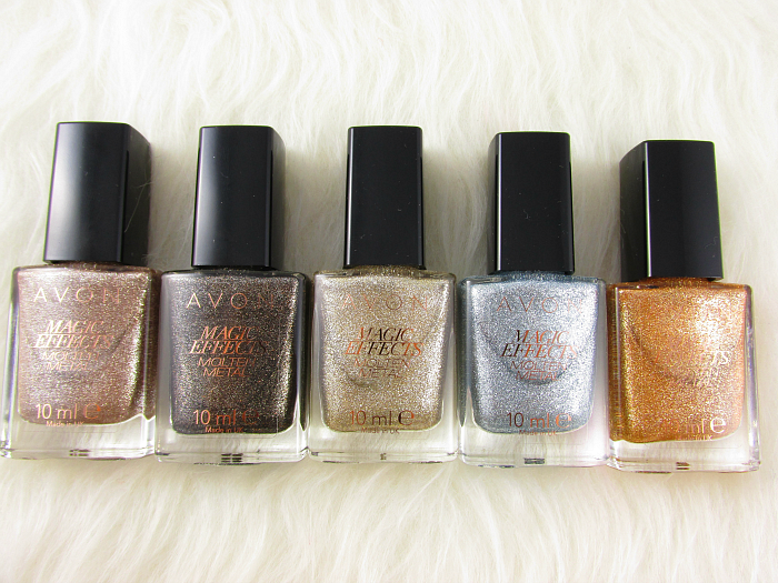 AVON Molten Metal Nagellacke / nailpolishes: Graphite - Titanium - Gold - Blue Steel - Copper