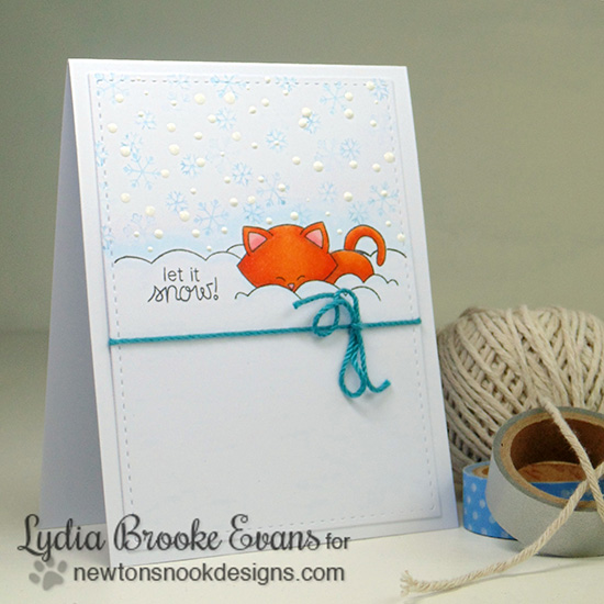 Cat and Snow card by Lydia Brooks - Winter Tails Stamp Set by Newton's Nook Designs