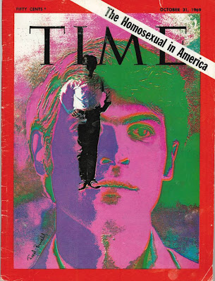 Brightly colored posterized Time magazine cover 'The Homosexual In America' Oct. 31, 1969