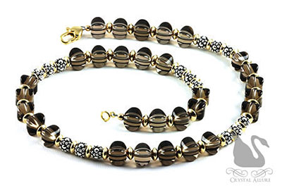 Bali Beaded Smoky Quartz Gemstone Necklace (N053)