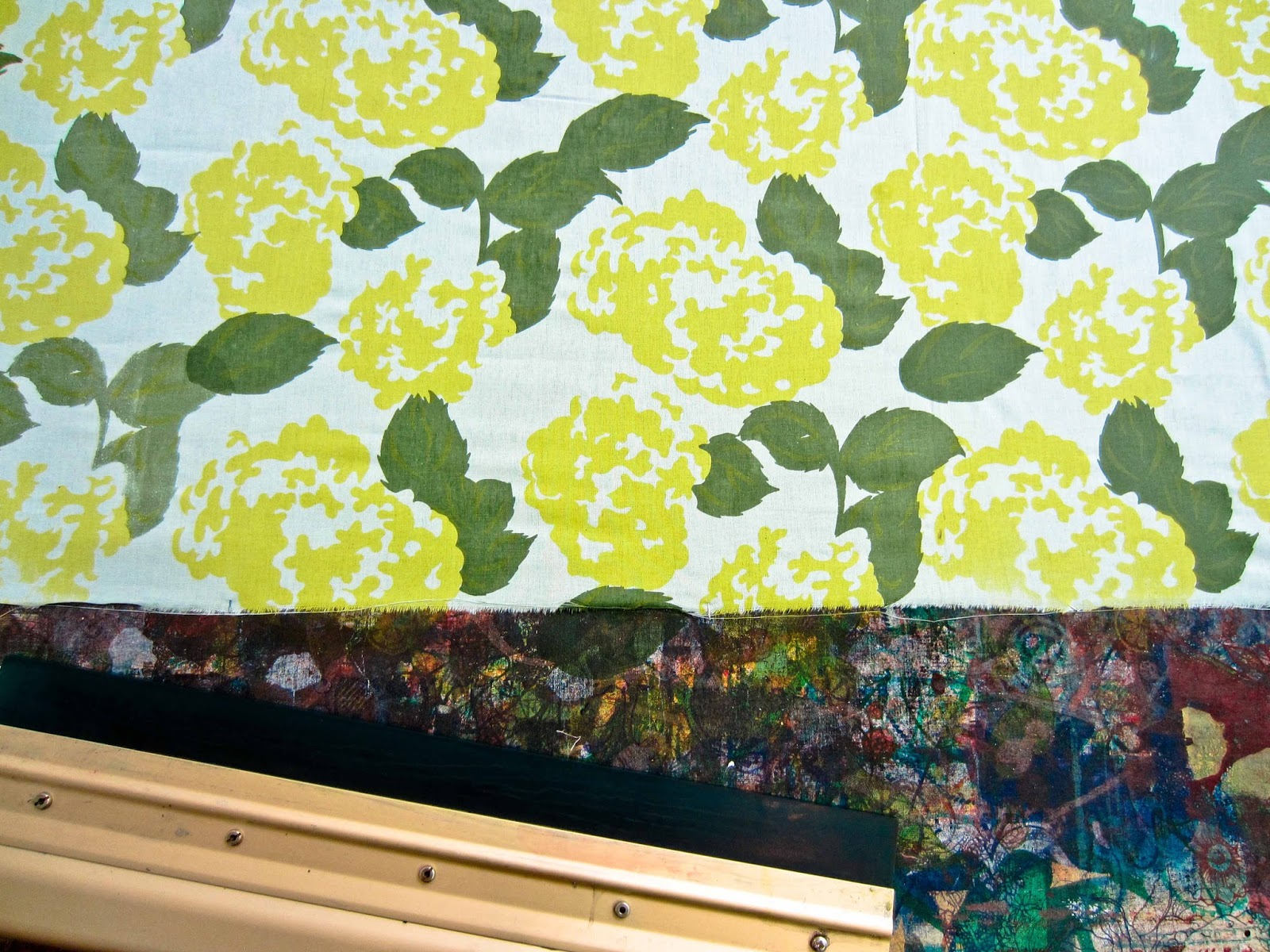 printed mint and citron hydrangea fabric by Lovely and Enough