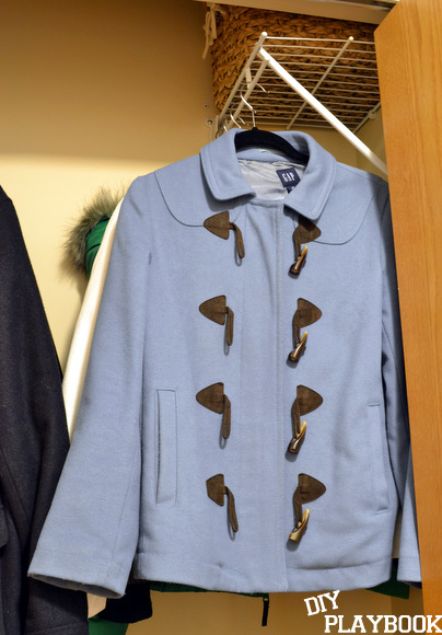 Coats hanging in closet