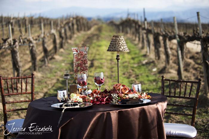 arreglo de mesa rustico en viñedo  boda - country tablescape