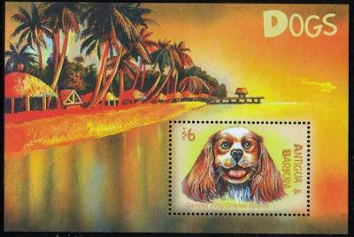 2000年アンティグア・バーブーダ キャバリア・キング・チャールズ・スパニエルの切手シート
