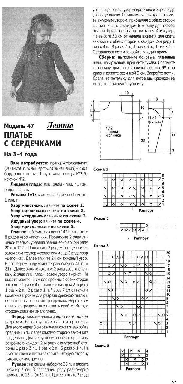 Схема вязания платья спицами на девочку 5 лет 577