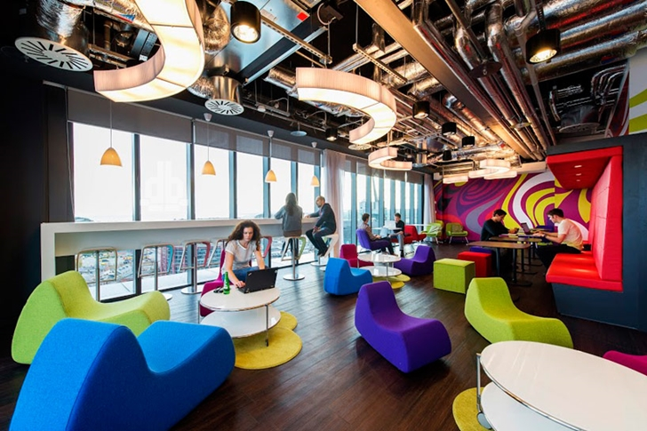 Colorful chairs in Google office in Dublin