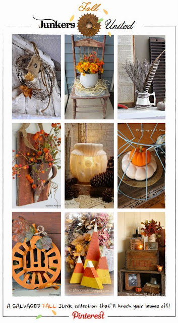Junkers United Fall Pin Board via Chipping with Charm: Junky Outdoor Vignette http://chippingwithcharm.blogspot.com/
